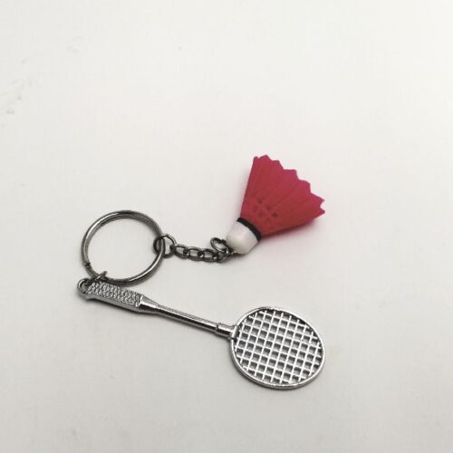 Sleutelhanger badmintonracket en shuttle roze